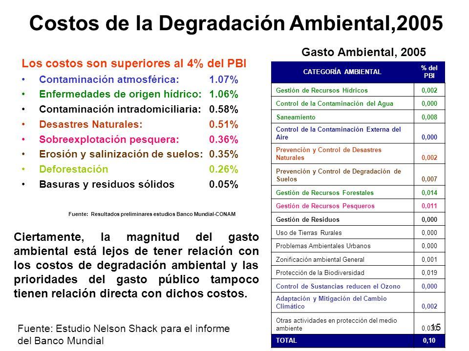 Costos de la Degradación Ambiental,2005
