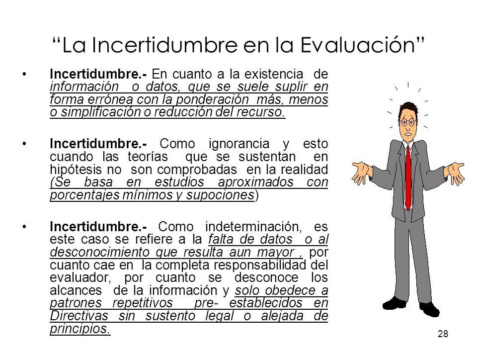 La Incertidumbre en la Evaluación