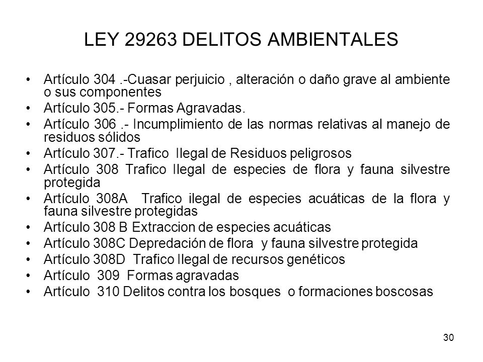 LEY 29263 DELITOS AMBIENTALES