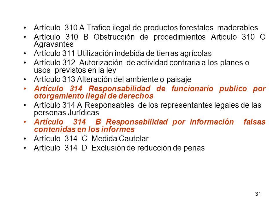 Artículo 310 A Trafico ilegal de productos forestales maderables