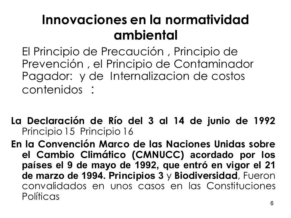 Innovaciones en la normatividad ambiental
