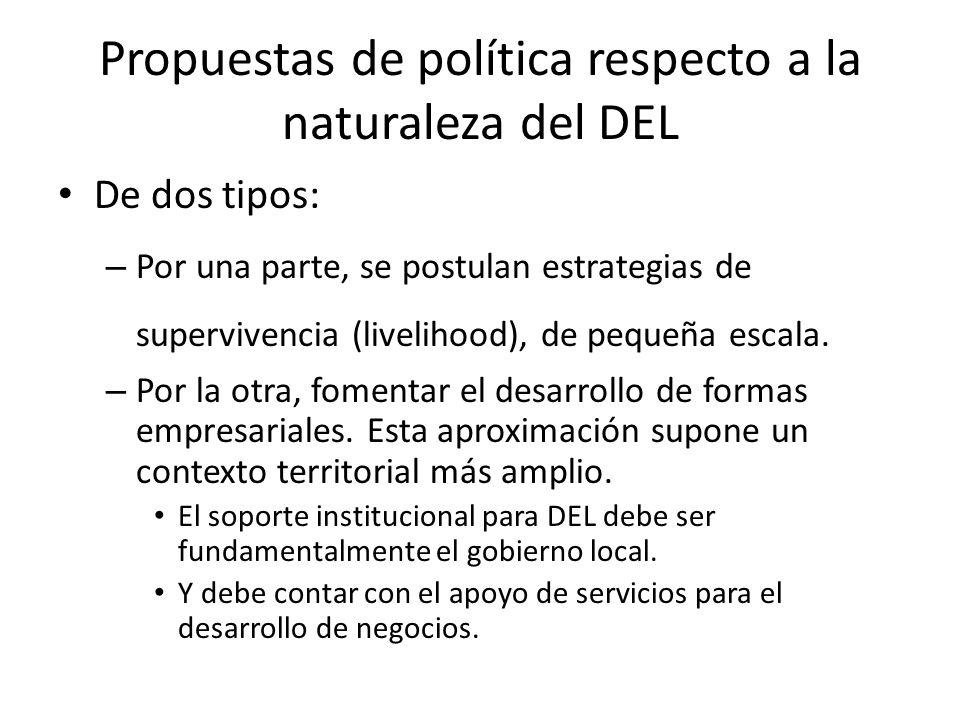 Propuestas de política respecto a la naturaleza del DEL