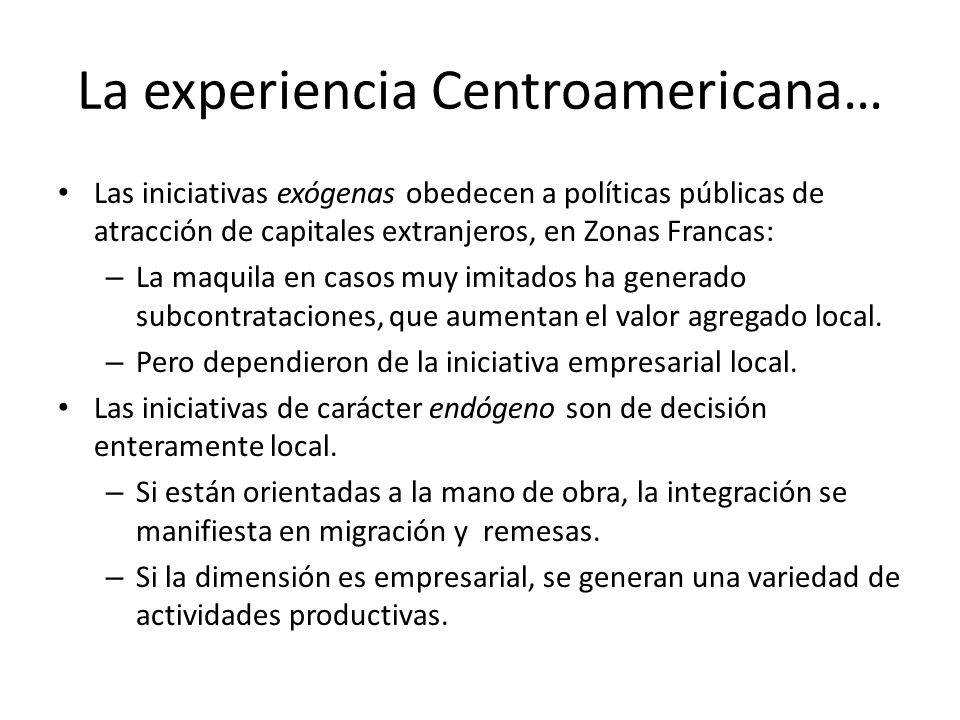 La experiencia Centroamericana…