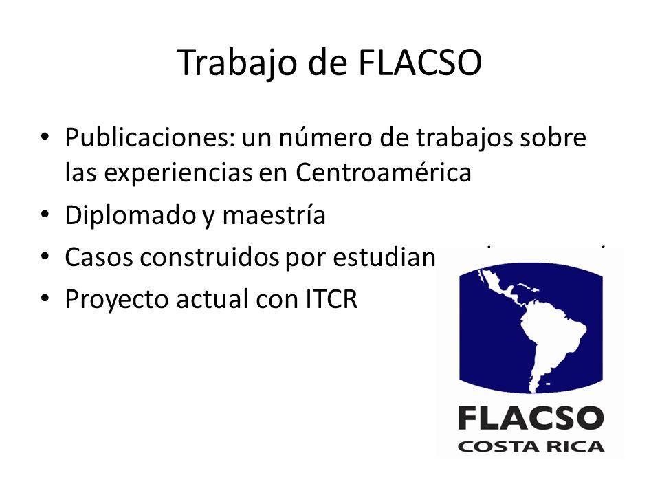 Trabajo de FLACSO Publicaciones: un número de trabajos sobre las experiencias en Centroamérica. Diplomado y maestría.