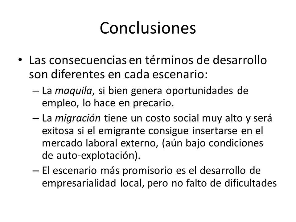 Conclusiones Las consecuencias en términos de desarrollo son diferentes en cada escenario: