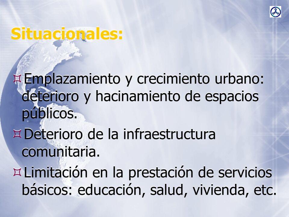 Situacionales:Emplazamiento y crecimiento urbano: deterioro y hacinamiento de espacios públicos. Deterioro de la infraestructura comunitaria.
