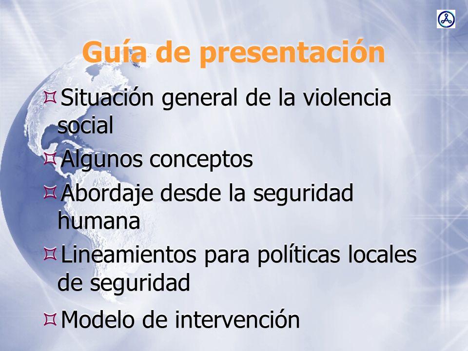 Guía de presentación Situación general de la violencia social