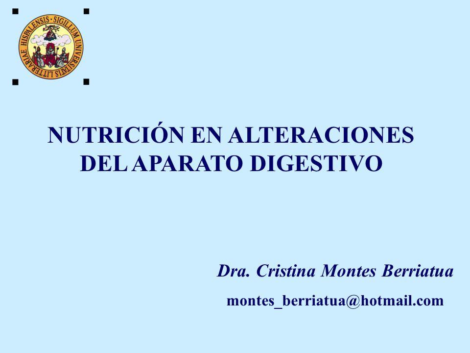NUTRICIÓN EN ALTERACIONES DEL APARATO DIGESTIVO