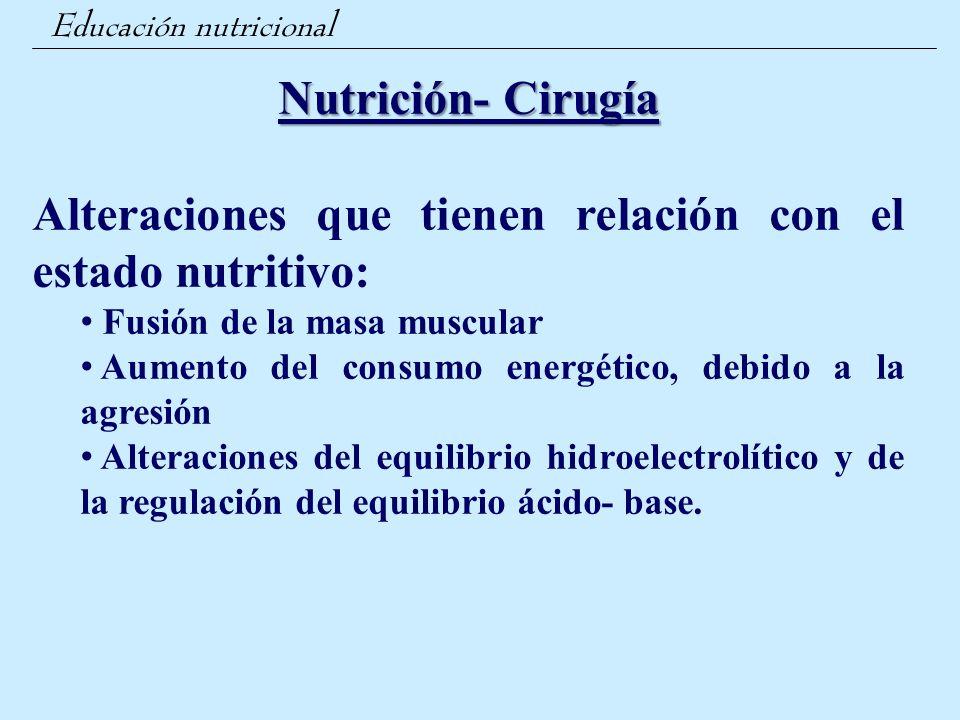 Alteraciones que tienen relación con el estado nutritivo: