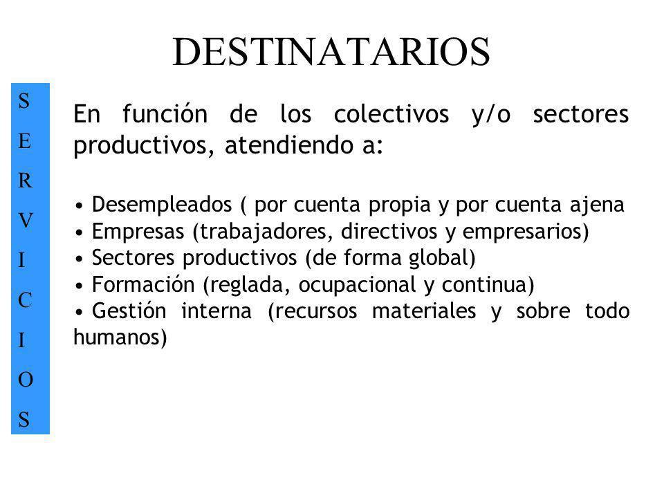 DESTINATARIOS S. E. R. V. I. C. O. En función de los colectivos y/o sectores productivos, atendiendo a: