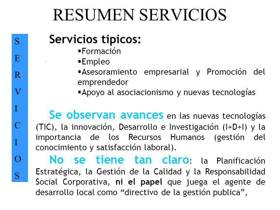 RESUMEN SERVICIOS Servicios tipicos: