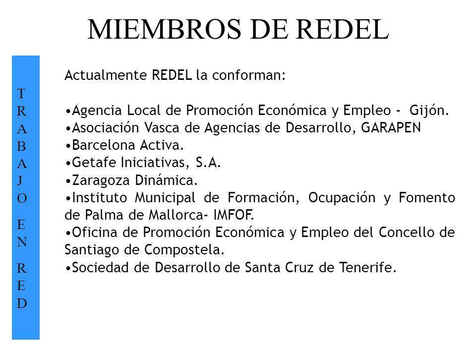 MIEMBROS DE REDEL T R A B A J O Actualmente REDEL la conforman: