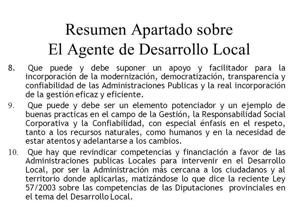 Resumen Apartado sobre El Agente de Desarrollo Local