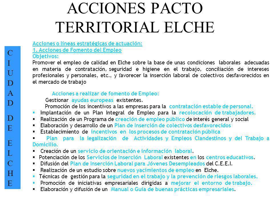ACCIONES PACTO TERRITORIAL ELCHE