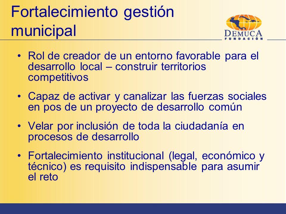 Fortalecimiento gestión municipal