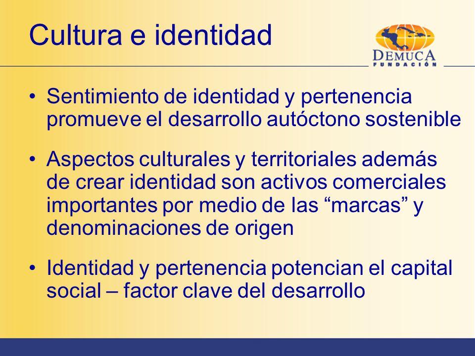 Cultura e identidad Sentimiento de identidad y pertenencia promueve el desarrollo autóctono sostenible.