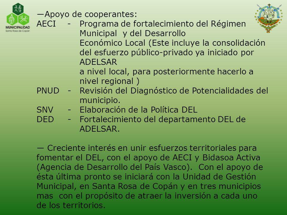 Apoyo de cooperantes: AECI - Programa de fortalecimiento del Régimen. Municipal y del Desarrollo.