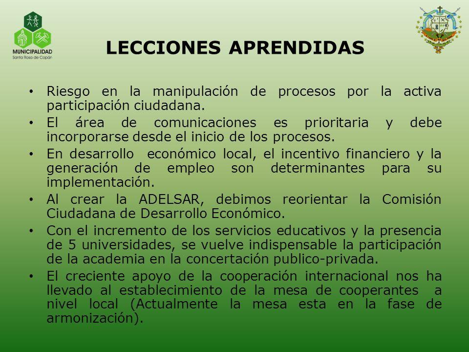 LECCIONES APRENDIDAS Riesgo en la manipulación de procesos por la activa participación ciudadana.