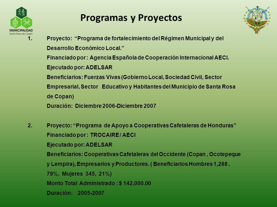 Programas y Proyectos Proyecto: Programa de fortalecimiento del Régimen Municipal y del Desarrollo Económico Local.