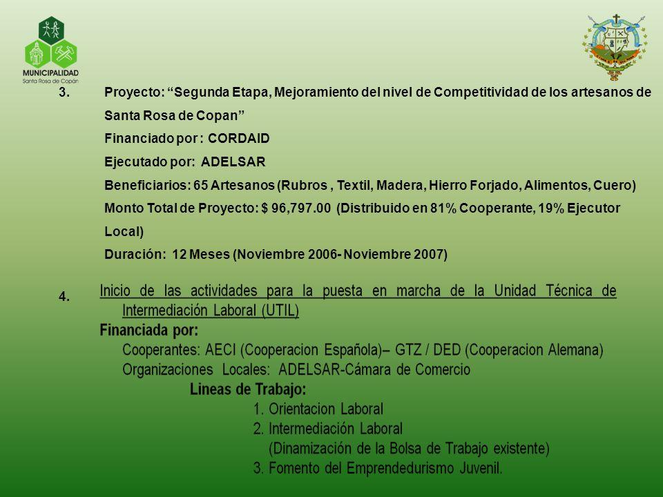 Proyecto: Segunda Etapa, Mejoramiento del nivel de Competitividad de los artesanos de Santa Rosa de Copan
