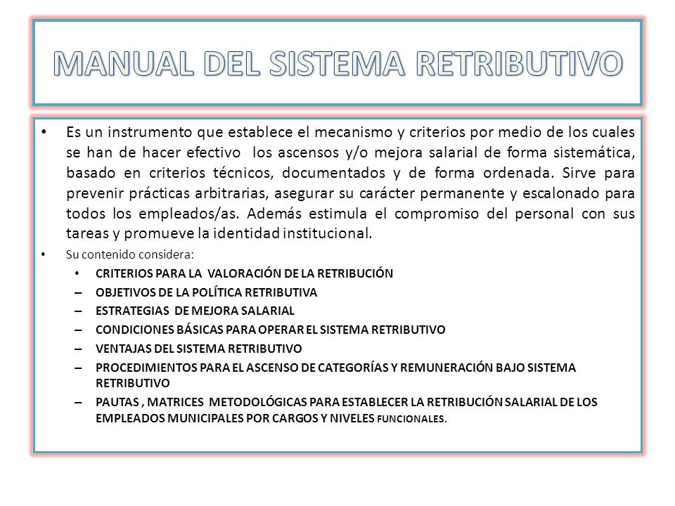 MANUAL DEL SISTEMA RETRIBUTIVO