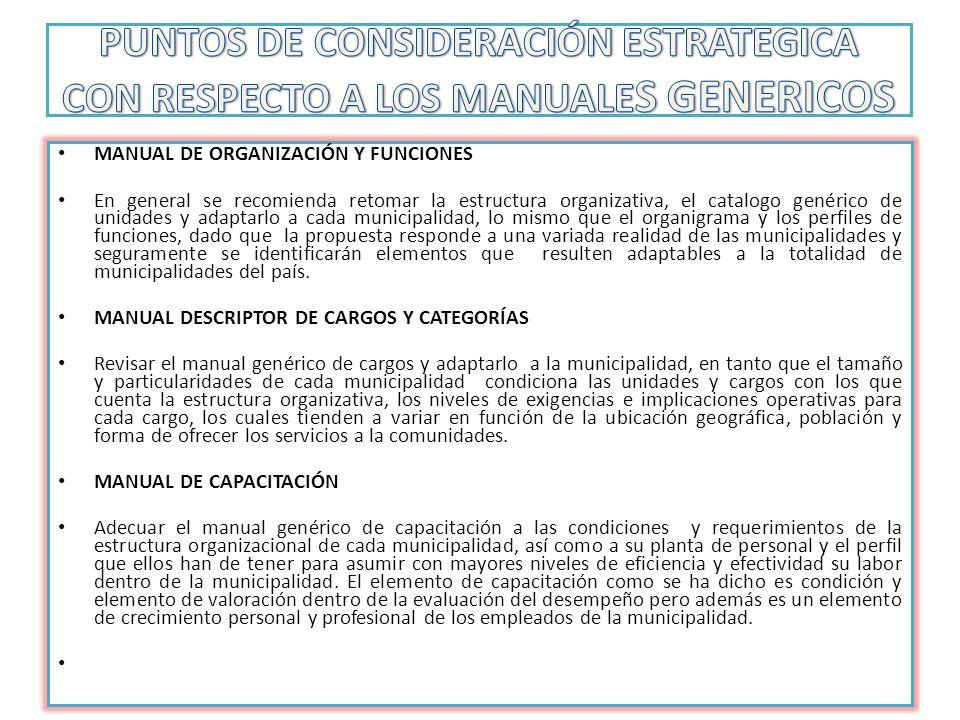 PUNTOS DE CONSIDERACIÓN ESTRATEGICA CON RESPECTO A LOS MANUALES GENERICOS