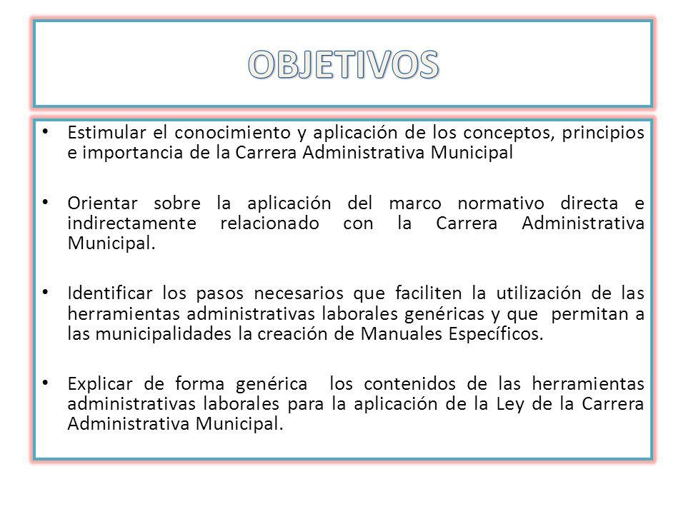 OBJETIVOS Estimular el conocimiento y aplicación de los conceptos, principios e importancia de la Carrera Administrativa Municipal.