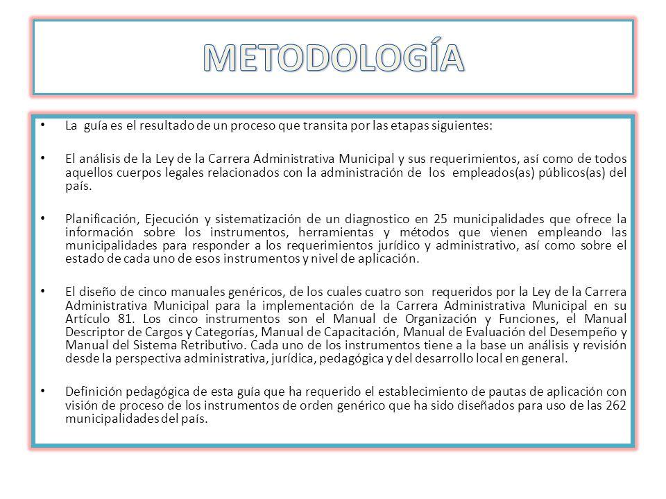 METODOLOGÍA La guía es el resultado de un proceso que transita por las etapas siguientes: