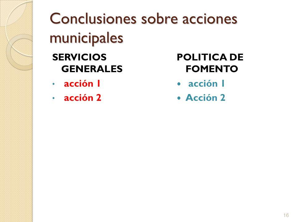 Conclusiones sobre acciones municipales