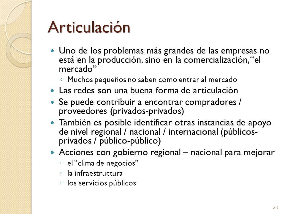 Articulación Uno de los problemas más grandes de las empresas no está en la producción, sino en la comercialización, el mercado