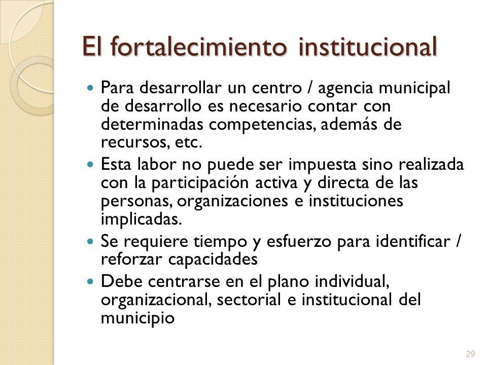 El fortalecimiento institucional