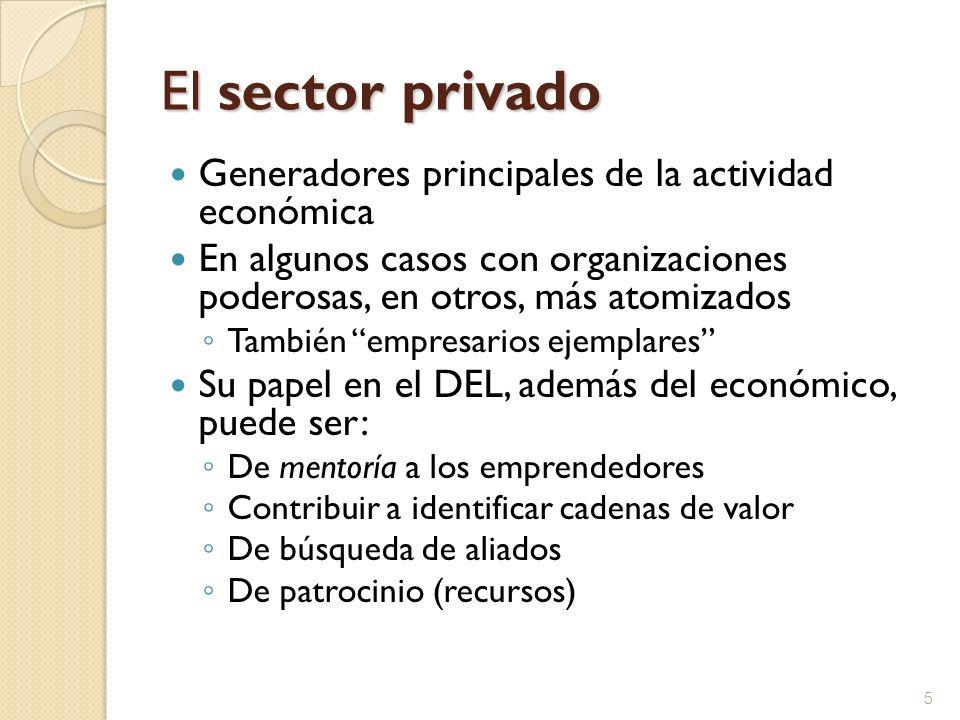 El sector privado Generadores principales de la actividad económica