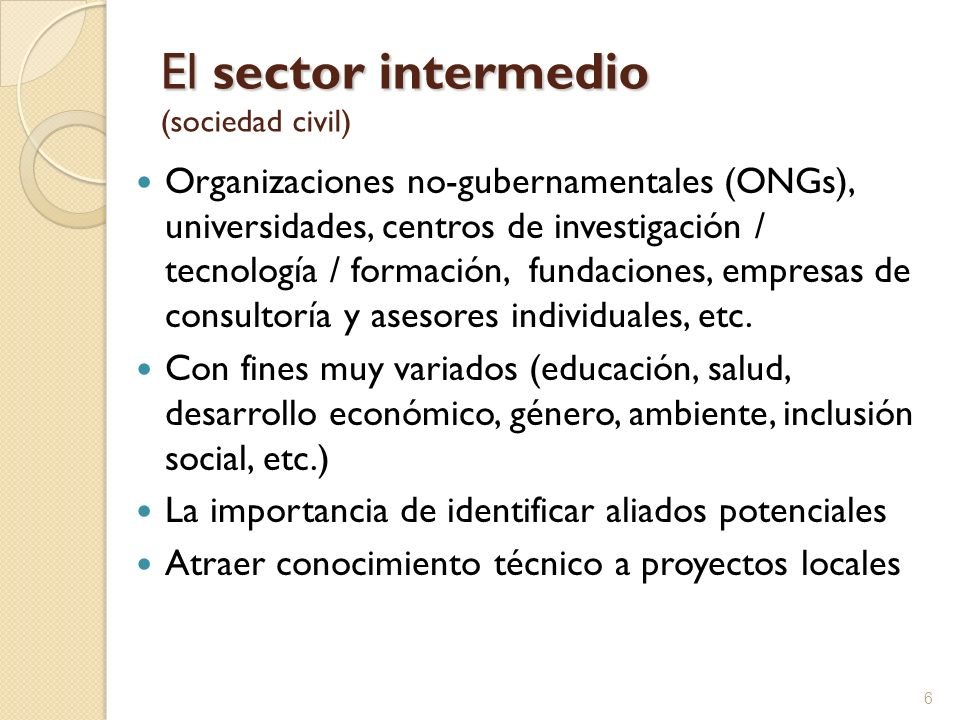El sector intermedio (sociedad civil)