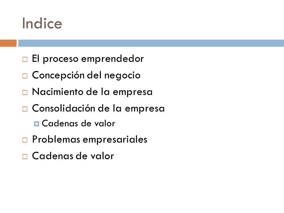 Indice El proceso emprendedor Concepción del negocio