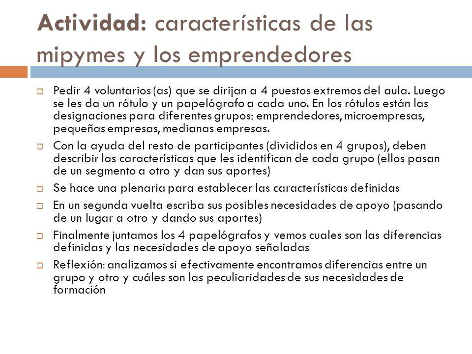 Actividad: características de las mipymes y los emprendedores