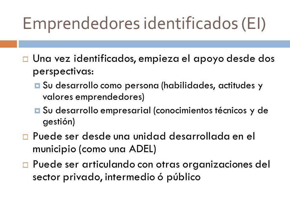 Emprendedores identificados (EI)