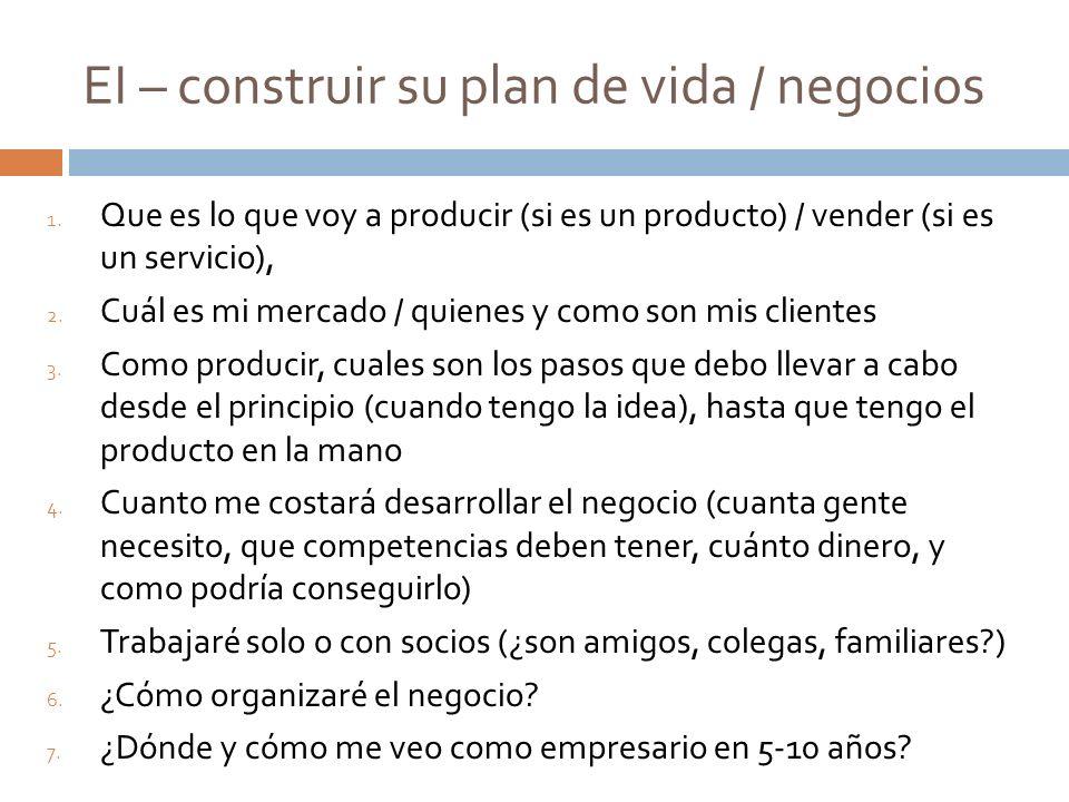 EI – construir su plan de vida / negocios