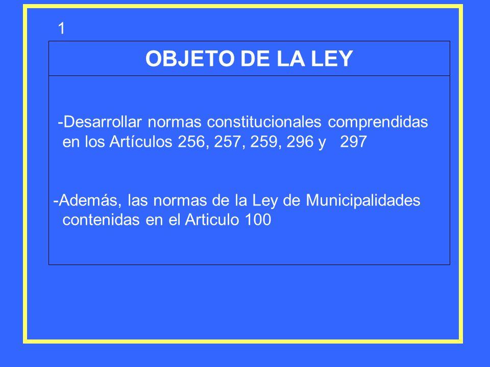 OBJETO DE LA LEY 1 -Desarrollar normas constitucionales comprendidas