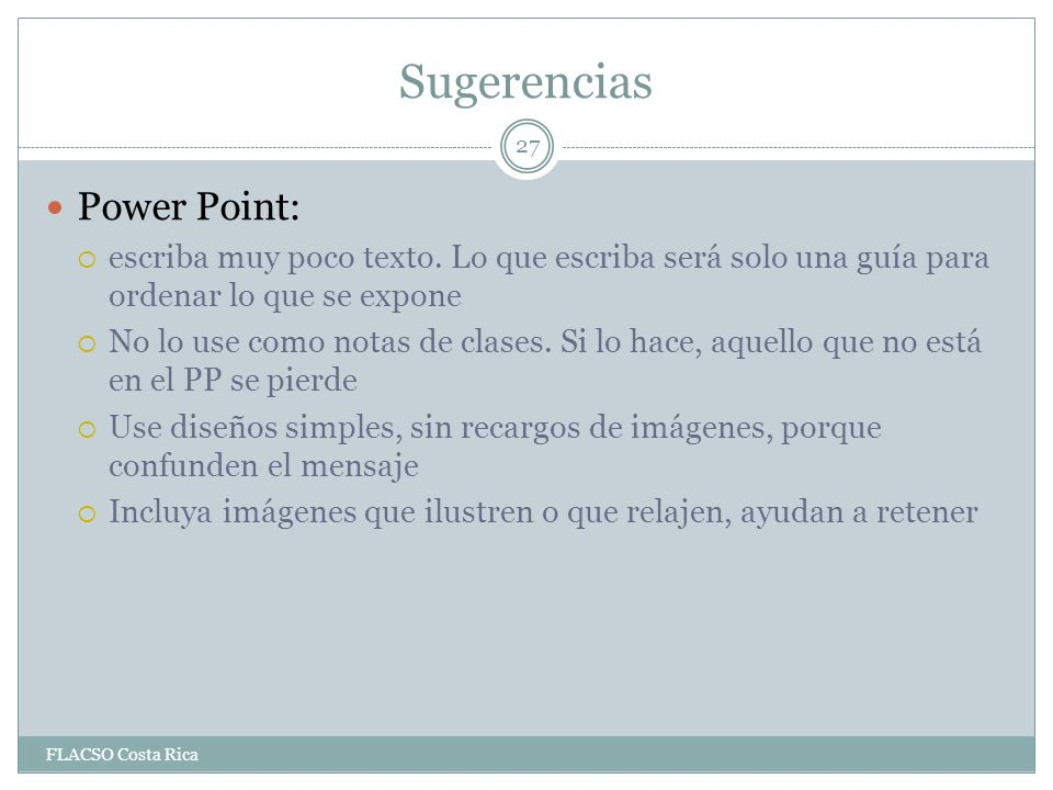 Sugerencias Power Point: