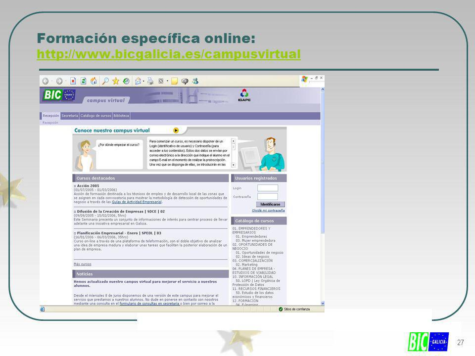 Formación específica online: http://www.bicgalicia.es/campusvirtual
