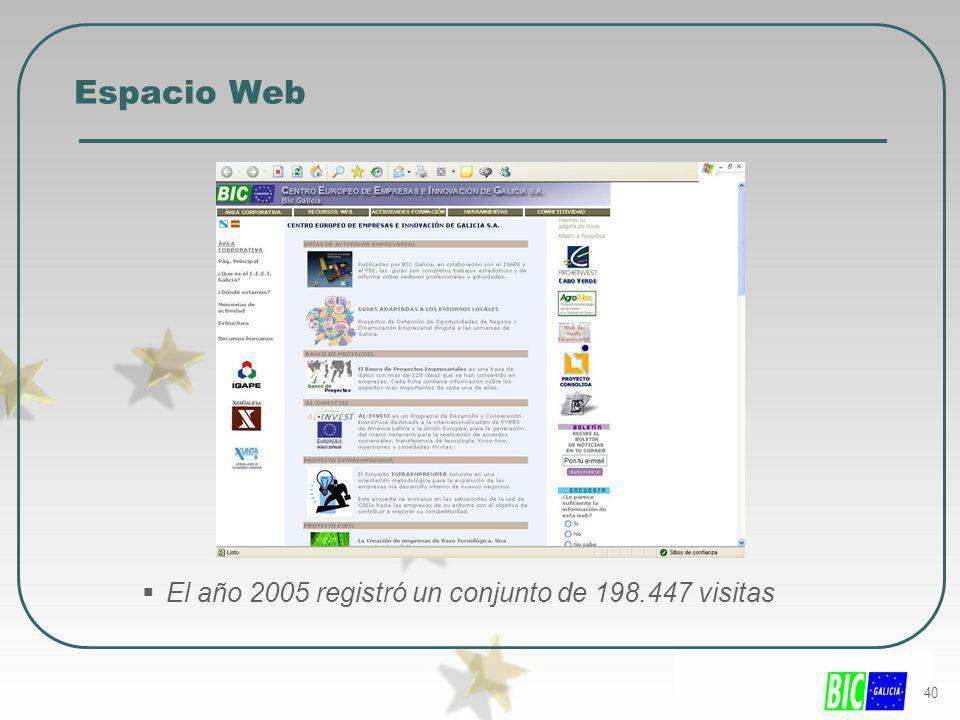 Espacio Web El año 2005 registró un conjunto de 198.447 visitas