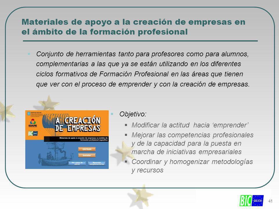 Materiales de apoyo a la creación de empresas en el ámbito de la formación profesional