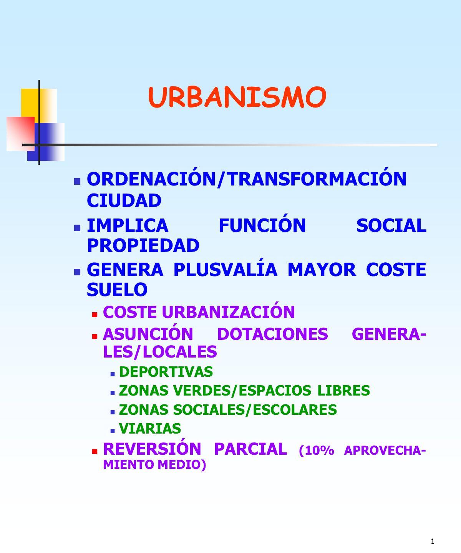 URBANISMO ORDENACIÓN/TRANSFORMACIÓN CIUDAD