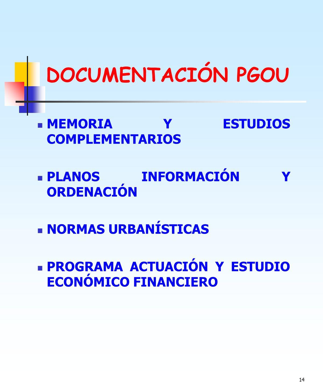 DOCUMENTACIÓN PGOU MEMORIA Y ESTUDIOS COMPLEMENTARIOS