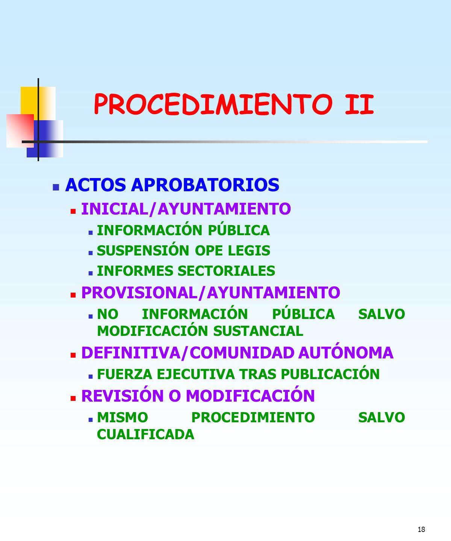 PROCEDIMIENTO II ACTOS APROBATORIOS INICIAL/AYUNTAMIENTO
