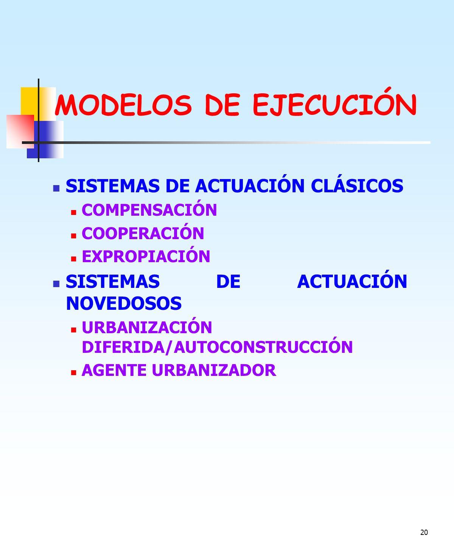 MODELOS DE EJECUCIÓN SISTEMAS DE ACTUACIÓN CLÁSICOS