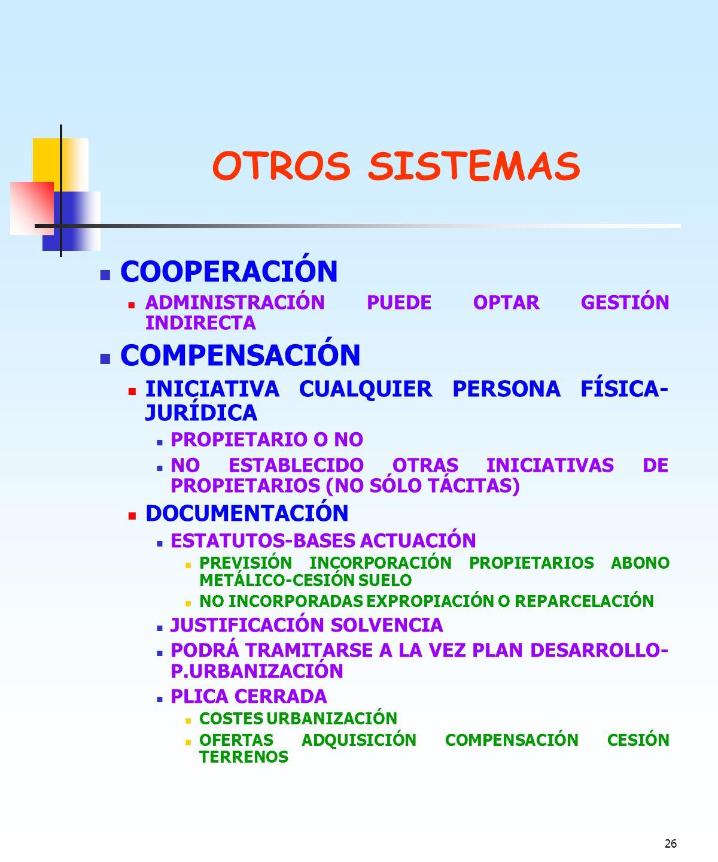 OTROS SISTEMAS COOPERACIÓN COMPENSACIÓN