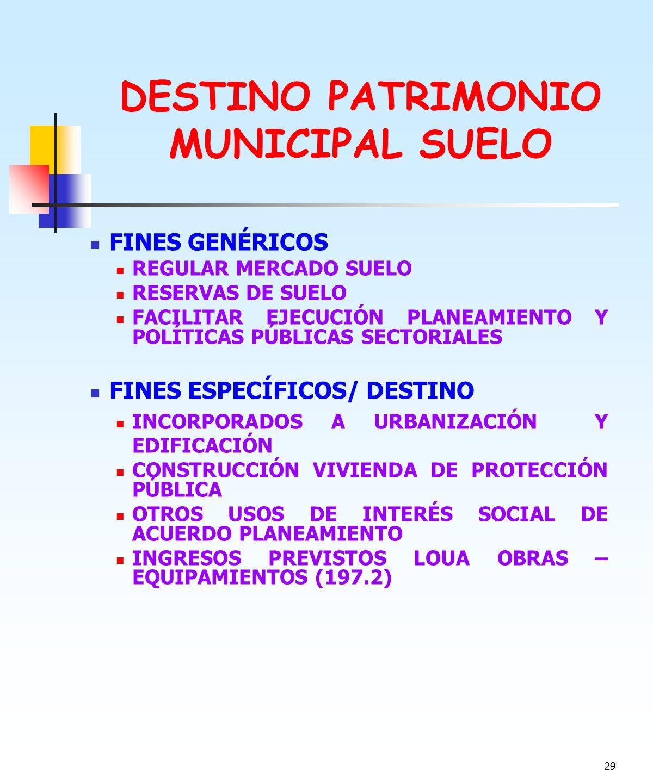 DESTINO PATRIMONIO MUNICIPAL SUELO