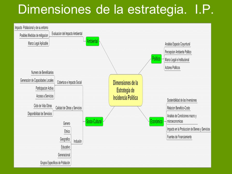 Dimensiones de la estrategia. I.P.