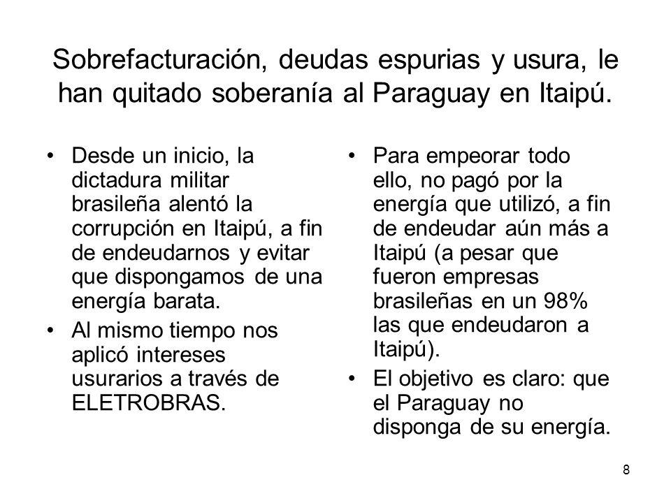 Sobrefacturación, deudas espurias y usura, le han quitado soberanía al Paraguay en Itaipú.